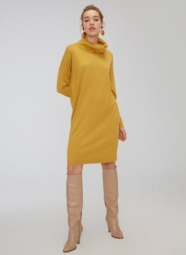 People By Fabrika Boğazlı Salaş Triko Elbise Hardal